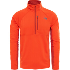 The North Face M's Ambition 1/4 Zip Long Sleeve Shirt Acrylic Orange Heather/Ketchup Red